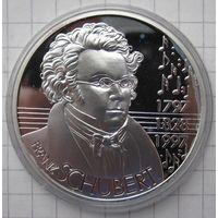 Австрия 25 ЭКЮ 1997 200 лет со дня рождения Франца Шуберта - серебро 24 гр. 0,925