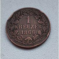 Баден 1 крейцер, 1866 4-1-25