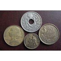 Франция. 4 монеты 1923-1964 г.