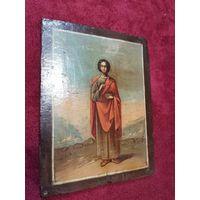 Икона, на кипарисе начало 19 века св. Целитель пантелемон 17.5 на 13.5 и на 1 см
