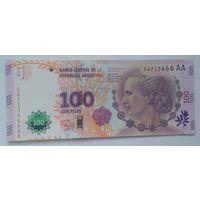 Аргентина 100 песо 2013 года Эвита Перон UNC