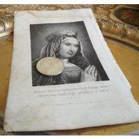 Гравюра, 19 в., Богородица, Варшава, икона католич., 17 * 11 см., изображение 10 * 7.3 см.