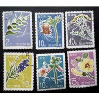 Корея 1967 г. Цветы. Флора, полная серия из 6 марок #0184-Ф1