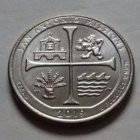 25 центов, квотер США, нац. истор. парк Миссия Сан-Антонио, штат Техас, P