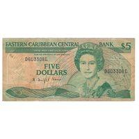 Санта-Лючия Восточно-Карибские штаты 5 долларов образца 1986 года. Префикс номера буква L. Вариант подписей 2. Редкая! Состояние VF!