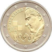 2 евро Эстония 2016  100 лет со дня рождения Пауля Кереса UNC из ролла