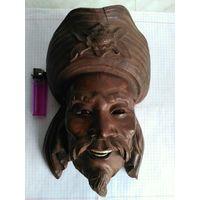 """Настенное деревянное панно """"Горельефное изображение головы"""",редкая.С 1 рубля"""