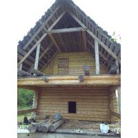 Дачный участок с постройками (сруб дома и бани)