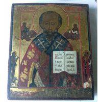 Икона Святителя и Чудотворца Николая. 19 Век. Письмо по Золоту. Без Вмешательств.