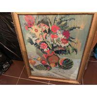 Натюрморт с цветами и арбузом