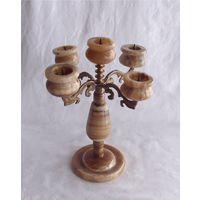 Подсвечник Канделябр на пять свечей Мраморный оникс Бронза Италия