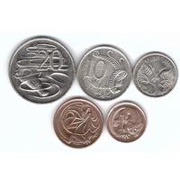 Австралия 20, 10, 5, 2, 1 цент набор 5 монет