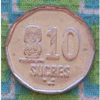 Эквадор 10 сукре 1991 года. UNC. Подписывайтесь! Много новых лотов в продаже!!!