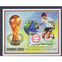 [698] Лесото 1989. Спорт.Футбол.Чемпионат мира. БЛОК.