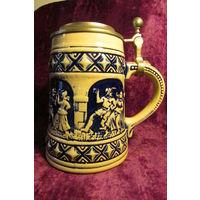 Кружка бокал  Средневековье от фирмы GERZ керамика олово 0,5 л 16 см   5ж