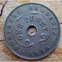 Южная Родезия. 1 пенни 1936 г.
