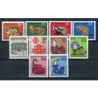 Берлин - 1968г. - Полный годовой набор - MNH, три марки с дефектами клея, одна с повреждением клея - 10 марок