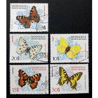 Монголия 1963 г. Бабочки. Насекомые. Фауна, 5 марок #0058-Ф1P12