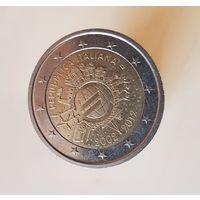 2 евро Италия 2012 10 ЛЕТ НАЛИЧНОМУ ОБРАЩЕНИЮ ЕВРО