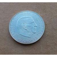 Дания, 10 крон 1972 г., серебро, Фредерик IX - Маргрете II