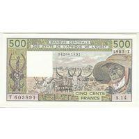 Восточно-африканские штаты Того (буква Т) 500 франков 1985 года. Состояние UNC! Редкая!