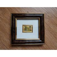 Винтажная миниатюра Италия ORO FOGLIA - хромолитография, стекло, золото, 14 х 13 см Сертификат / ПЕЙЗАЖ-1