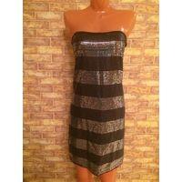 Стильное платье в пайетки на 42-44 размер. Длина 69 см, ПО по верху от 38 до 42 см. Очень классно смотрится на фигурке. В идеальном состоянии.