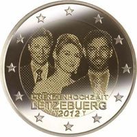 2 евро Люксембург 2012 Свадьба наследного Великого .... ( из ролла)