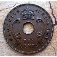 Восточная Африка. Британская колония. 10 центов 1952 г.