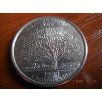 25 центов, США, 1999 г., Коннектикут