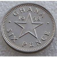 Гана. 6 пенсов 1958 год  KM#4  А-2
