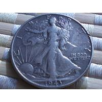 США 1/2 ДОЛЛАРА 1943 г. серебро.