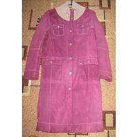 Стильное замшевое пальто-плащ TOM TAILOR яркого, насыщенного цвета фуксии!