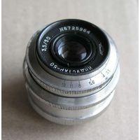 Объектив ИНДУСТАР-50 3,5/50 резьба М39 белый для дальномерных камер 1967 год