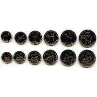 Эритрея 1, 5, 10, 25, 50, 100 центов 1997 г. (Фауна, набор)