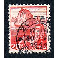 28: Швейцария, почтовая марка, 1936 год, номинал 20с, SG#375A