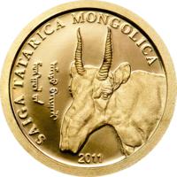 """Монголия 500 тугриков 2011г.  """"Сайга"""".  Монета в капсуле.  ЗОЛОТО 0,5гр."""