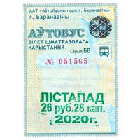 Проездной Барановичи ноябрь 2020