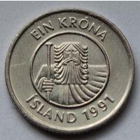 Исландия 1 крона, 1991 г.