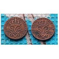Швеция две монеты 1 оре 1936 года. Разное написание 6-ки. Три короны. Густав V Адольф. Инвестируй в историю!