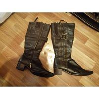 Сапоги зимние натуральная кожа и шерстяной мех сапоги новая профилактика новая обтянутая каблуки набойка