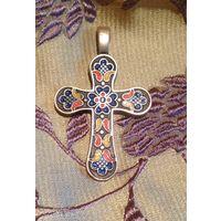 Крест православный,  нательный с перегородчатой эмалью