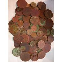 100 монет старой меди ( 1 ). с рубля