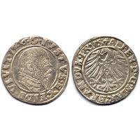 Грош 1546, Альберт Гогенцоллерн, Крулевец. Коллекционное состояние. Более редкий год, портрет с длинной клиновидной бородой, высокий воротник, R1