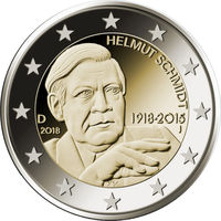 2 евро 2018 Германия D Гельмут Шмидт UNC из ролла