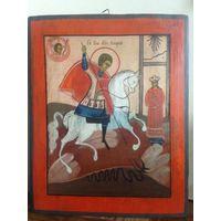 Икона Чудо Святого Георгия о Змие. 19 Век. Без мнц!
