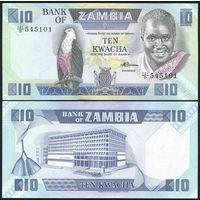 Замбия 10 квача образца 1988 года UNC p26e