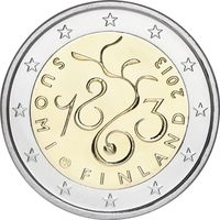 2 евро 2013 Финляндия 150-летие проведения сейма 1863 года UNC из ролла