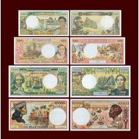 [КОПИЯ] Сет Французские Тихоокеанские Территории 500+1000+5000+10000 франков 1985-2003 г.г.