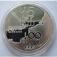 Франция 100 франков 1994 Тоннель под Ла-Маншем - серебро 0,900
